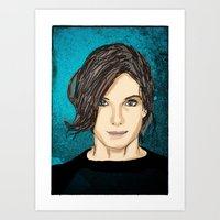 sandra dieckmann Art Prints featuring Sandra Bullock by Mike Brennan