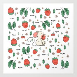 Strawberries nom nom Art Print
