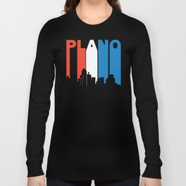 Red White And Blue Plano Texas Skyline Long Sleeve T-shirt