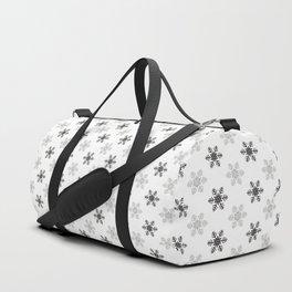 Snowflake Pattern   Black and White Duffle Bag