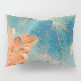 Blue and Orange Autumn Leaves Pillow Sham