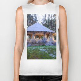 Kiosk in winter Biker Tank