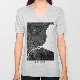 Detroit Black And White Map Unisex V-Neck