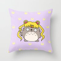 ghibli Throw Pillows featuring Sailor Ghibli by KiraKiraDoodles