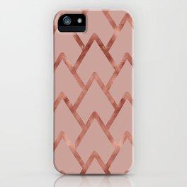 Elegant faux rose gold pink geometric waves pattern iPhone Case