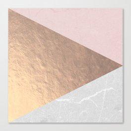 Geo tri - rose gold & concrete Canvas Print