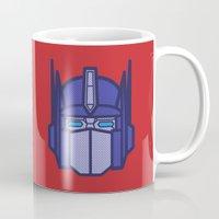 optimus prime Mugs featuring Optimus Prime by M. Gulin
