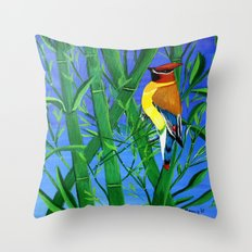 Bamboo and bird Throw Pillow