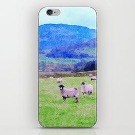 Nosy Sheep at Borrowdale, Lake District, UK Watercolor Painting iPhone Skin