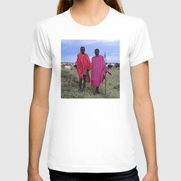 Two Maasai Teens Tending to Cattle in Africa T-shirt