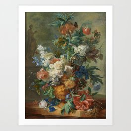 Jan van Huysum - Still life with flowers (1723) Art Print