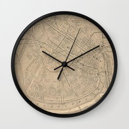 Vintage Map of New Orleans LA (1908) Wall Clock