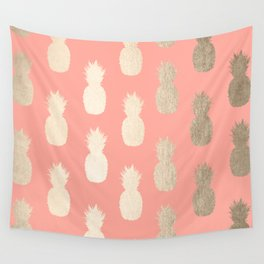 Gold Pineapples on Coral Pink Wall Tapestry