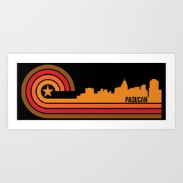 Retro Paducah Kentucky Skyline Art Print