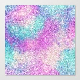 Modern girly pastel glitter sparkle nebula ultra violet turquoise pink Canvas Print