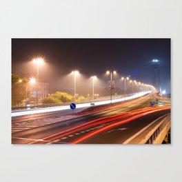 Traffic trails on the bridge Canvas Print