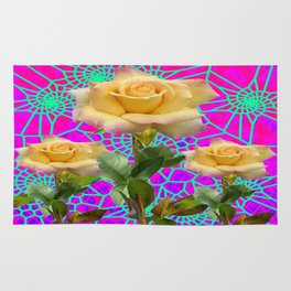 Contemporary Triple Yellow Roses Purple-Green Web Art Design Rug