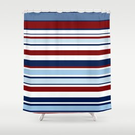 Nautical Stripes - Blue Red White Shower Curtain