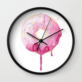 Glazed Pink Donut Wall Clock