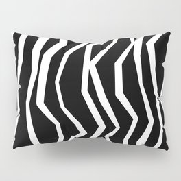 Wavy zig zag lines edgy black and white Pillow Sham