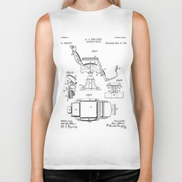 Barbers Chair Patent - Barber Art - Black And White Biker Tank