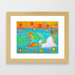 Surf Art Hang 5 Retro Lady Cruiser by Surfy Birdy Framed Art Print
