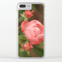 Salmon Roses Clear iPhone Case