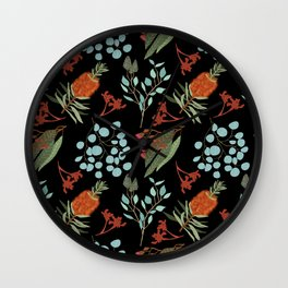 Australian Botanicals - Black Wall Clock
