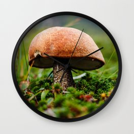 Wild Mushroom Photography Print Wall Clock