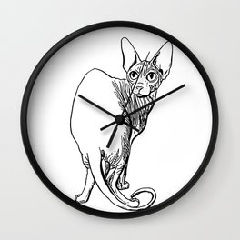 Sphynx Cat Illustration - Sphynx - Cat Drawing - Naked Cat - Wrinkly Cat - Black and White Wall Clock