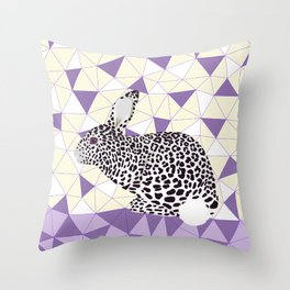 Cute Purple Pastel Rabbit Leopard Pattern Design Throw Pillow