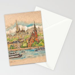 Castle and churches on riverside with boats Stationery Cards