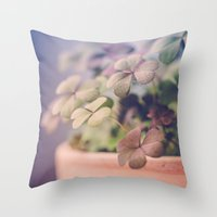 clover Throw Pillows featuring Clover by Juste Pixx Photography