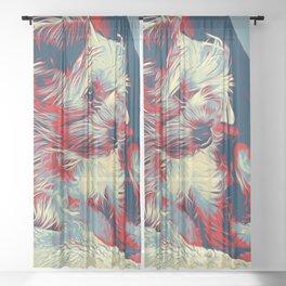 Cute Yorkshire Terrier Pop Art Sheer Curtain