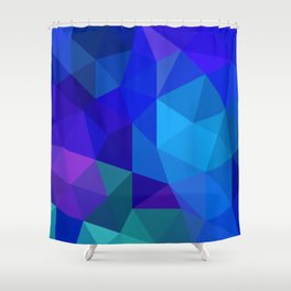 Sapphire Low Poly Shower Curtain