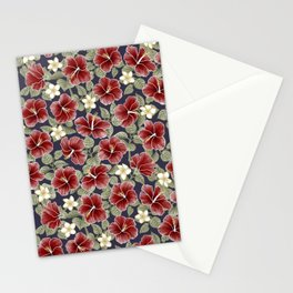 Maroon Hibiscus and Plumeria Stationery Cards