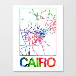 Cairo Watercolor Street Map Canvas Print