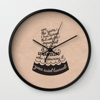 ysl Wall Clocks featuring Little Black Dress by Kate Moore
