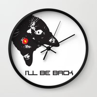 terminator Wall Clocks featuring Cat Terminator by VINSPIRO