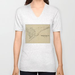 Vintage Map of Galveston Texas (1892) Unisex V-Neck
