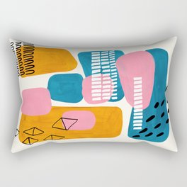 Mid Century Modern abstract Minimalist Fun Colorful Shapes Patterns Pink Teal Yellow Ochre Bubbles Rectangular Pillow
