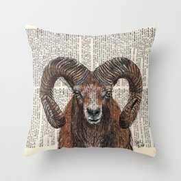 Aries Ram on Dictionary Page Throw Pillow