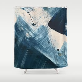 Against the Current [2]: A bold, minimal abstract acrylic piece in blue, white and gold Shower Curtain