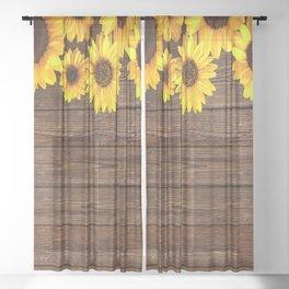 Sunflower Wood Rustic Sunflower Design Sheer Curtain