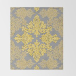 Golden Folk - doodle pattern in yellow & grey Throw Blanket