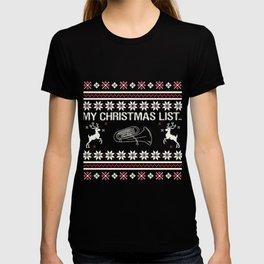 My Christmas List... Tuba Instrument T-shirt