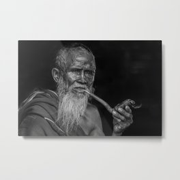 Portrait of an Elderly Man Smoking Pipe Metal Print
