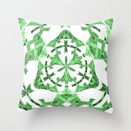 Green Art Deco Inspired Celtic Mandala Throw Pillow