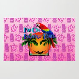 Pink Tiki Island Time And Parrot Rug