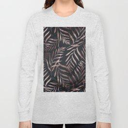 Rose Gold Leaves on Dark Gray Black Long Sleeve T-shirt
